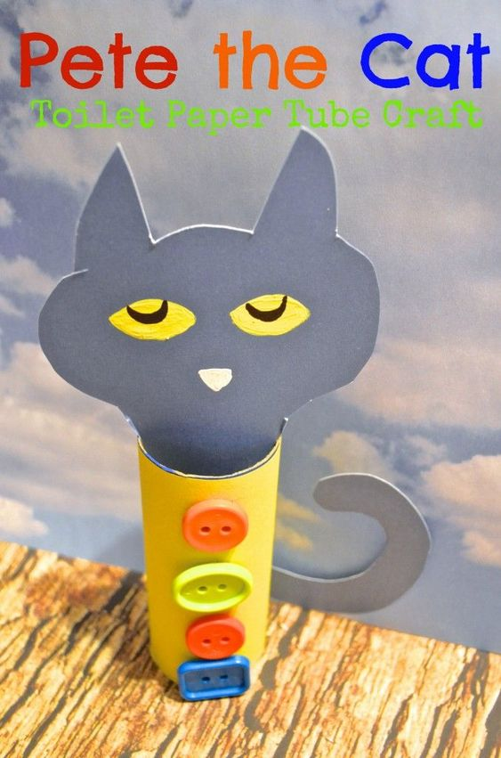 Pete the cats toilet paper tubes and crafts for kids on for Cat art and craft