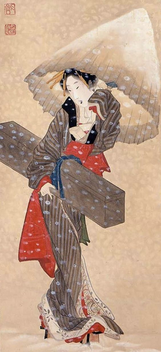 Geisha or courtesan carrying a shamisen in case through the snow.  Main detail of a hanging scroll; ink and color on silk, 1804-18 ,  Japan, by artist Numata Gessai.  MFA (William Sturgis Bigelow Collection)