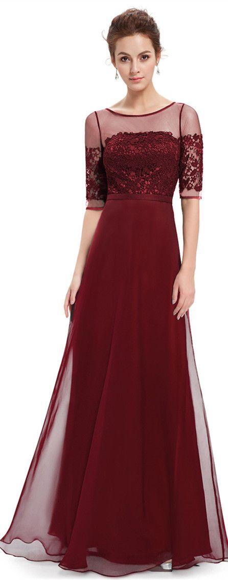 Elegant Burgundy Half Sleeves Maxi Dress Party Dress-prom dress ...