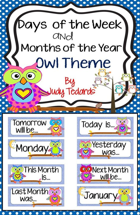 Use these adorable owls to teach Days of the Week and Months of the Year.  Headings for Today is, Tomorrow will be, Yesterday was, This Month is, Next Month will be, and Last Month was are also included.