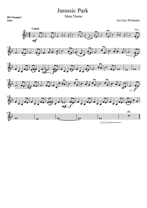 Jurassic Park Main Theme Trumpet Saxophone Sheet Music