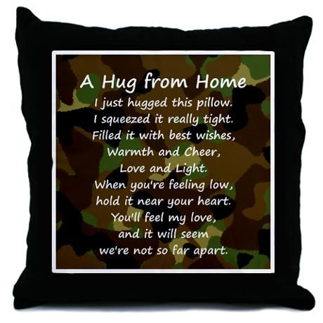 Hugs from Home Throw Pillow- must DIY this for deployed spouse