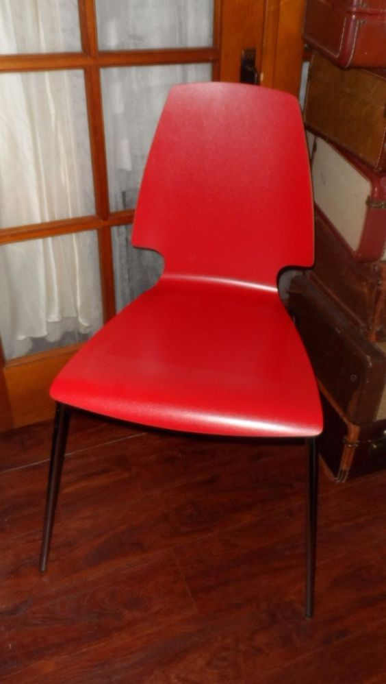 Details About IKEA Vilmar Red Kitchen Dining Chair