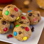 Monster Cookie Energy Bites: 2 cups of oatmeal, 1 cup peanut butter, 1/2 cup flaxseed, 1/4 cup honey, 1 tablespoon vanilla extract, mini m&ms and chocolate chips