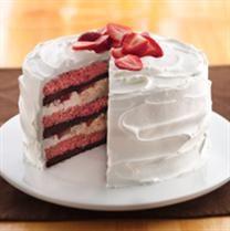 Cream Filled Strawberry  Brownie Cake