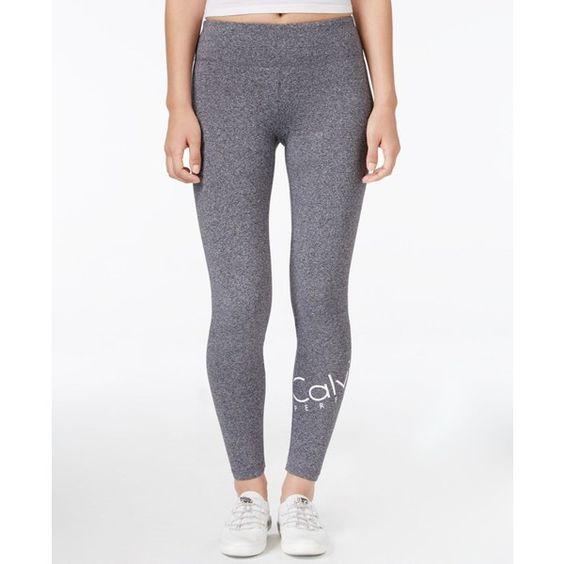 Calvin Klein Performance Wraparound Logo Leggings ($49) ❤ liked on Polyvore featuring pants, leggings, black heather, legging pants, wrap pants, calvin klein pants, wrap around pants and wrap trousers