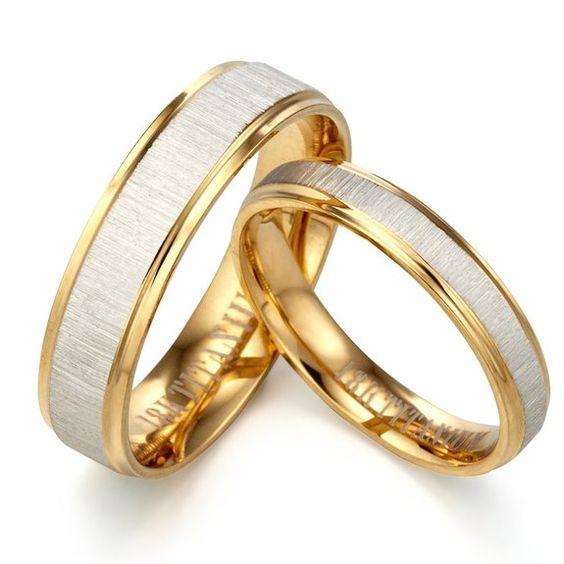GEMINI Alliances jeunes mariés, Alliances en or jaune 18K, Alliances pour 2 Anneaux, Cadeaux de St Valentin Taille 46 à 78