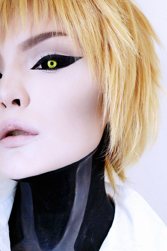 These One Punch Man/Hollow Man sclera lenses are pitch black with yellow iris. The contrast is stunningly sharp ; thus expect an overwhelmingly exciting impact.: