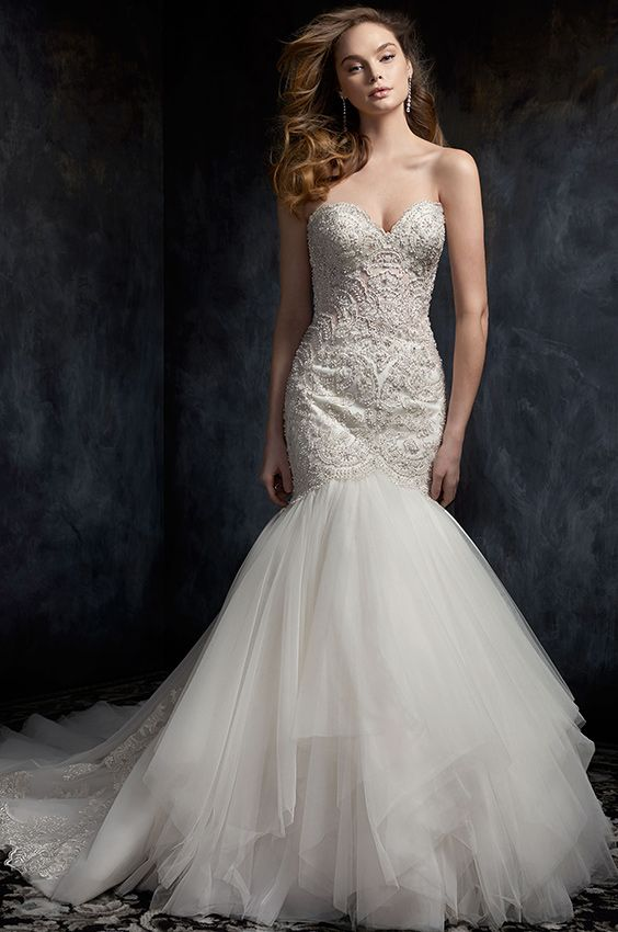 Kenneth Winston Style 1747 Trumpet Style Lace Wedding Dress With