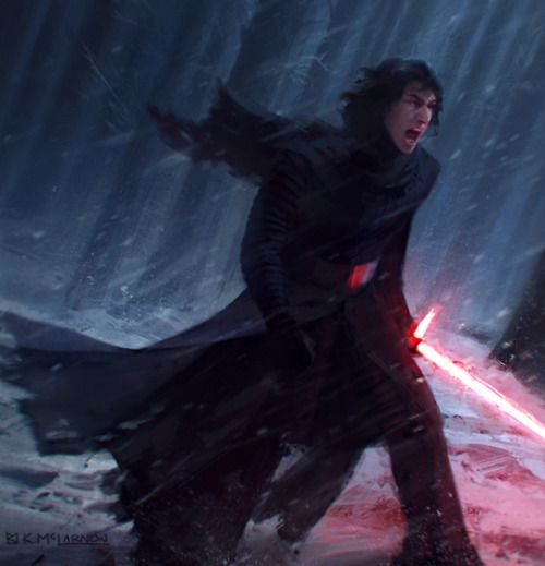 """Star Wars fan art, Kylo Ren, a practice painting I ended up liking.""   ...:"