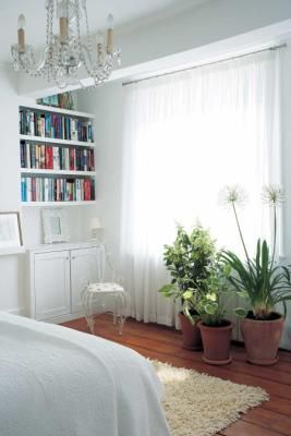A grouping of houseplants brings energy to a bedroomwith a minimalist color palette. Houseplantsí air-filtering qualities are particularly useful in the bedroom, where they help ensure a healthy night's sleep.
