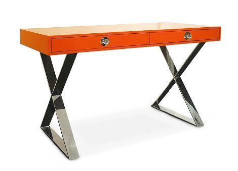Jonathan Adler - Special Edition Channing Desk - $1750 (Orange lacquer desk with metal base, polished nickel and lucite drawer pulls)