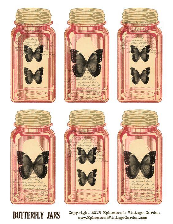 Ephemera 39 s vintage garden free printable butterfly jar for Bookmark creator jar