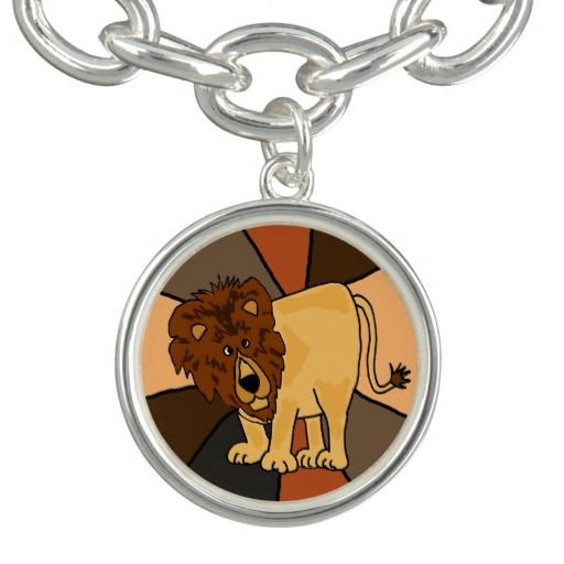 Cute Lion Art Charm Bracelet #lions #animals #charms #bracelets And www.zazzle.com/naturesmiles*