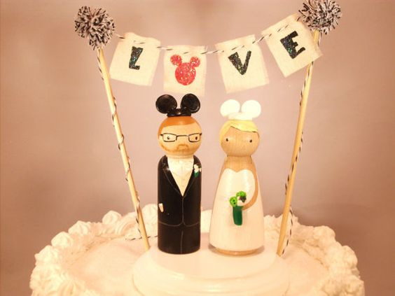 Large Size Custom Cake Topper Includes Pom Pom Bunting, Base, and 3D Bride and Groom Fully Customizabl