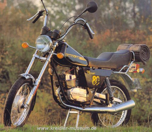 I remember this one! I was horrified! 1981 Kreidler-Florett 80 chopper. I wanted the engine though since we only got 50cc and 4 speed
