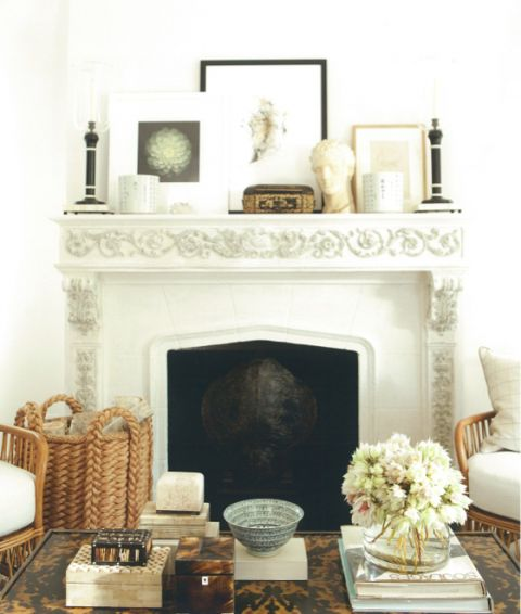 Mark D. Sikes mantel: a study in casual elegance. Asymmetry and symmetry combine to create the perfect mantel.