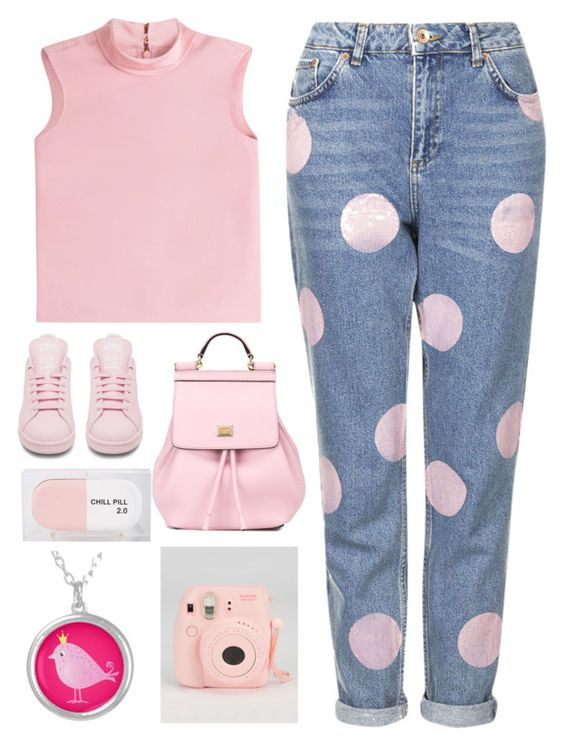 """""""Untitled #8"""" by vanessa-rosee ❤ liked on Polyvore featuring Topshop, RED Valentino, adidas, Dolce&Gabbana, Sarah's Bag, women's clothing, women's fashion, women, female and woman"""