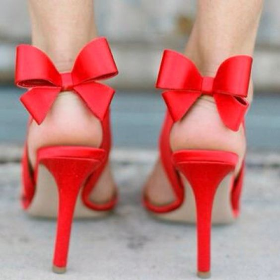 Bold Red shoes with Bows