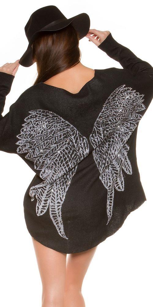 schwarzer pullover mit fl gel und strass nieten am r cken shirt top gr m unbedingt kaufen. Black Bedroom Furniture Sets. Home Design Ideas