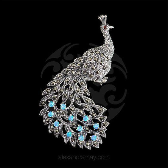 Luke Stockley Marcasite & Blue Opal Peacock Brooch | Alexandra May Jewellery