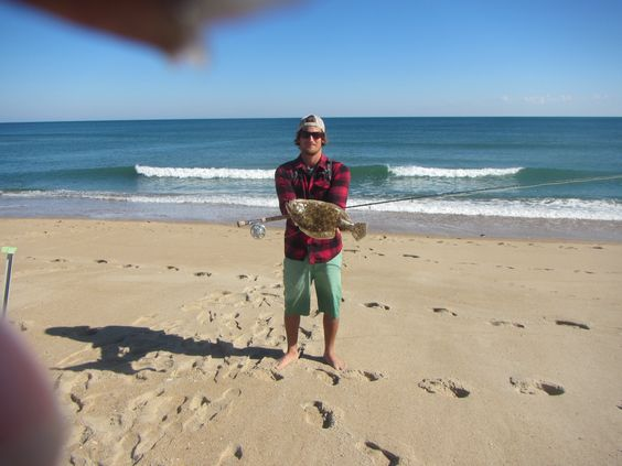 Big flounder i caught off the beach outer banks nc on for Outer banks fly fishing