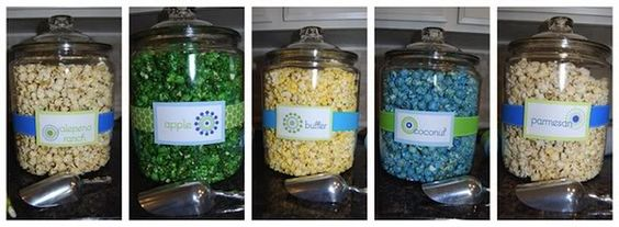 "Another ""Pop"" theme. The boys just gave their dad a ""Pop"" theme bag for Father's Day. Could use for baby shower like this one or engagement (he popped the ?)...Other ""Pop"" foods popcorn chkn, shrimp, Popeyes, popovers, Corn pops, etc. LOVE the popcorn bar"
