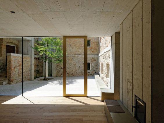 Old stone, new concrete and Tree :)  Garden House Refugium Laboratorium Klausur / Hertl Architekten