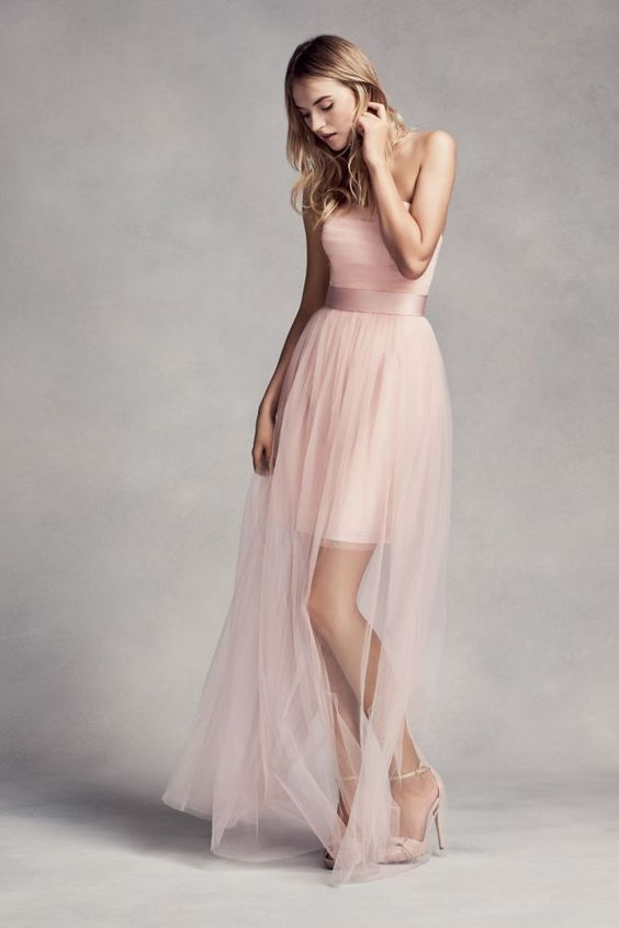 Tulle Short Bridesmaid Dress with Illusion Overskirt - Blush (Pink), 12: