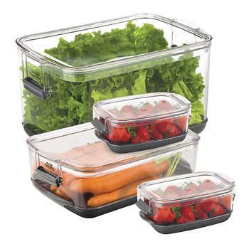Progressive 4 Piece Produce Keeper Food Storage Food Storage Containers Food Serving Trays