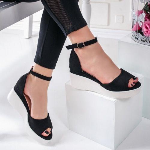 Sandale Dama Cu Platforma Negre Karenia In 2020 Shoes Heels Fashion