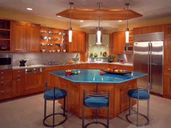 Diseno De Isla Hexagonal Con Tablero De Granito Islas De Cocina Decoracion De Cocina Moderna Decoracion De Cocina