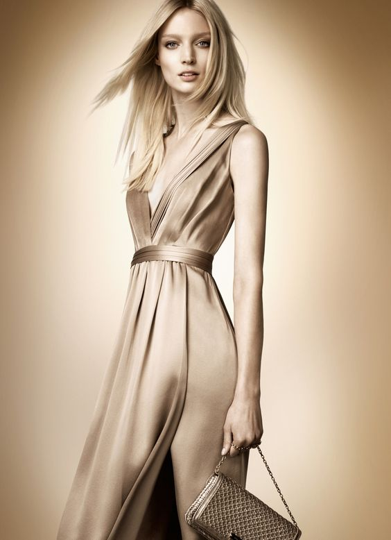 Limited edition silk v-neck dress from the Burberry Rose Gold collection