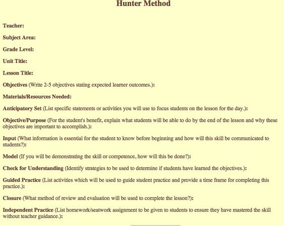 Madeline Hunter lesson plan template | Learning theories ...
