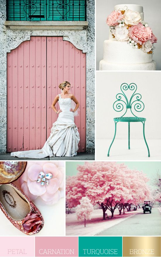 Blush pink turquoise gold wedding colors themes for Turquoise gold wedding theme