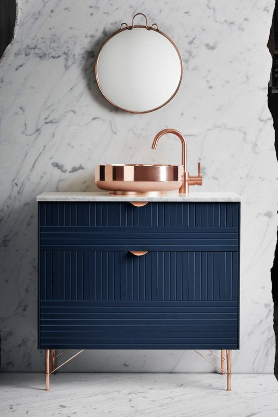 """Lazy Ways To Make Your Ikea Furniture Look Expensive #refinery29  http://www.refinery29.uk/ikea-furniture-look-expensive-hacks-superfront#slide-3  Hack #2: Bathroom CabinetIkea Metod base cabinet, white, £49+Front: METOD 80x20, Parallels, Infinity Blue, £48<a href=""""http://www.superfront.com/uk/bathroom/fr..."""