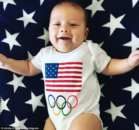 She had shared a snaps two days earlier of three-month-old Boomer in an Olympics onesie, with the Stars And Stripes above the five Olympic rings (pictured)