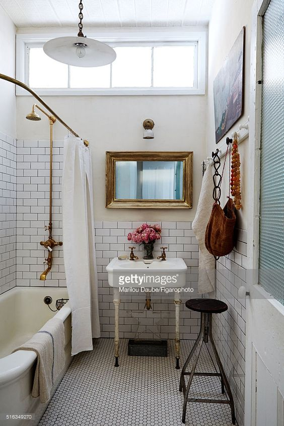 Designer John Derian's home, bathroom, is photographed for Madame Figaro on February 3, 2015 in New York City. PUBLISHED IMAGE.