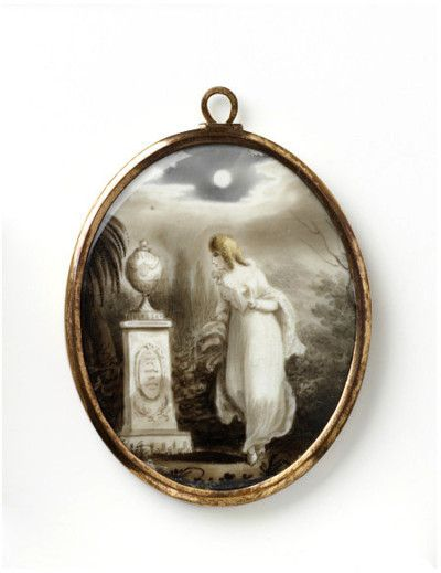 Locket  England, Great Britain 1780-1820 (made)  Artist/Maker:Unknown   Memorial jewellery to honour the dead is one of the largest categories of 18th- century jewellery. From 1760 there was a vogue for memorial medallions or lockets. These became especially popular in Britain.  Neo-classical motifs of funerary urns, plinths and obelisks joined the more traditional cherubs, angels and weeping willows. Hair was preserved  within the locket.: