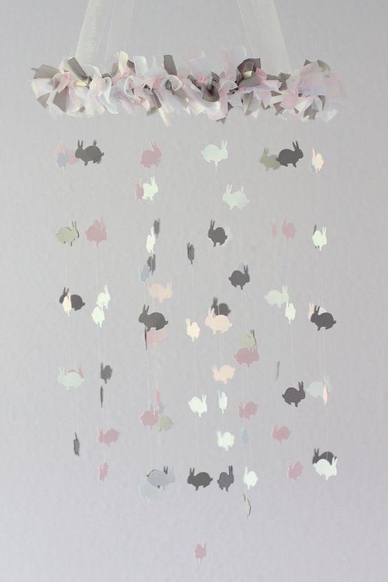 Bunny Nursery Mobile in Light Pink Gray & by LoveBugLullabies