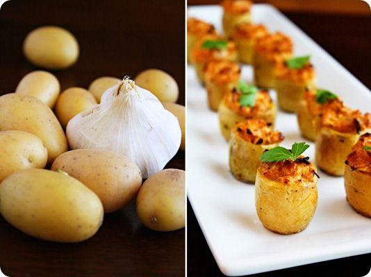 mini stuffed potatos with artichokes