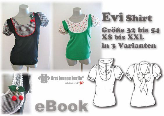 _Der Sommer kommt bestimm!!_ :)  *eBook Nähanleitung mit Schnittmuster für Shirt Evi♡ Superbequemes klassisches Shirt mit eingesetztem Lätzchen und Puffärmeln,  aufgepeppt durch viele ...
