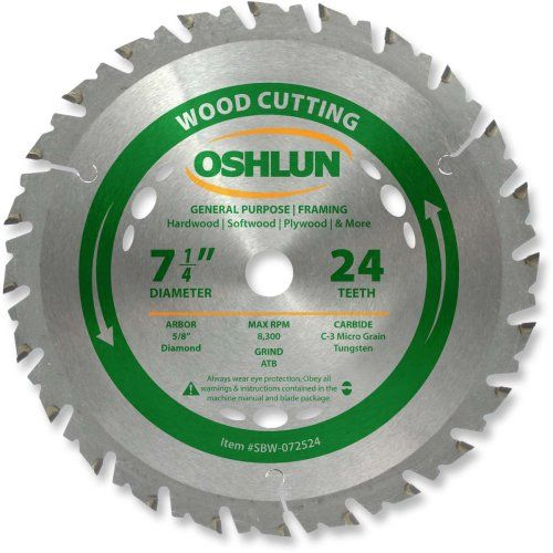 Oshlun Sbw 072524 7 1 4 Inch 24 Tooth Atb General Purpose And Framing Saw Blade With 5 8 Inch Arbor Diamond Knockout Table Saw Blades