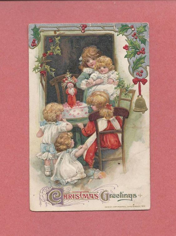 CHILDREN, SANTA CENTERPIECE On Gorgeous Vintage 1912 WINSCH CHRISTMAS Postcard #Christmas