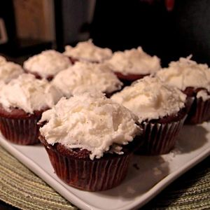 Chocolate Coconut Rum cupcakes... packed with coconut flavor in both ...