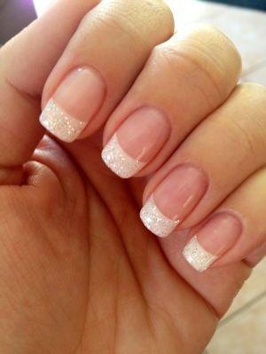 Glittering White French Manicure Design