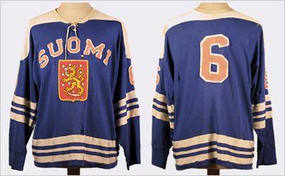 1965 World Ice Hockey Championship Finnish National Team jersey - Lalli Partinen (This website has tons of old Finnish national team and other old hockey jerseys)