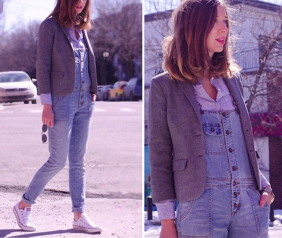 Forever 21 Denim Overall, Vintage Jacket, Converse All Star, Zero Uv Sunglasses