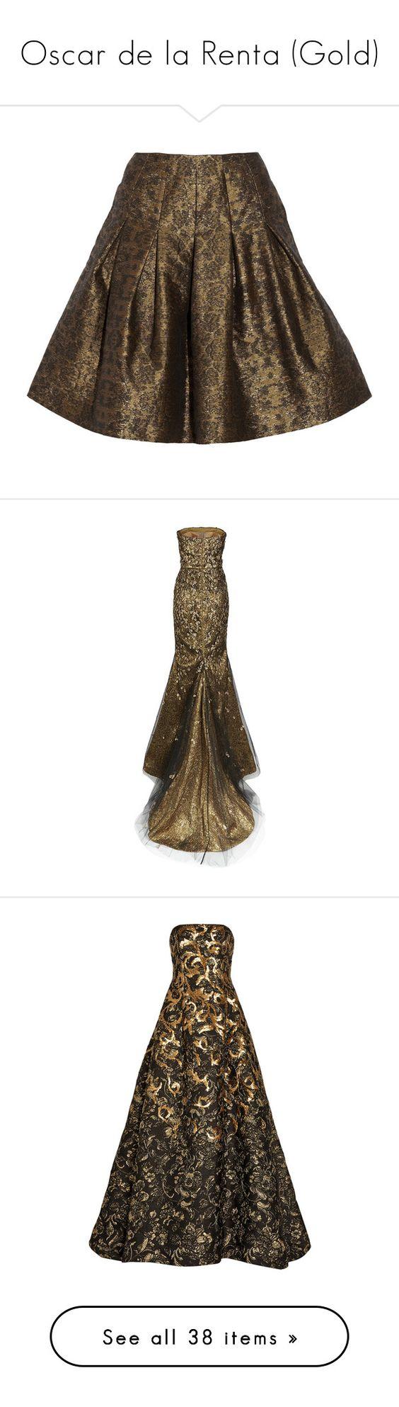 """Oscar de la Renta (Gold)"" by kari-c ❤ liked on Polyvore featuring skirts, oscar de la renta, metallic, pleated skirts, metallic pleated skirt, knee length pleated skirt, brown skirt, metallic skirts, dresses and gowns"