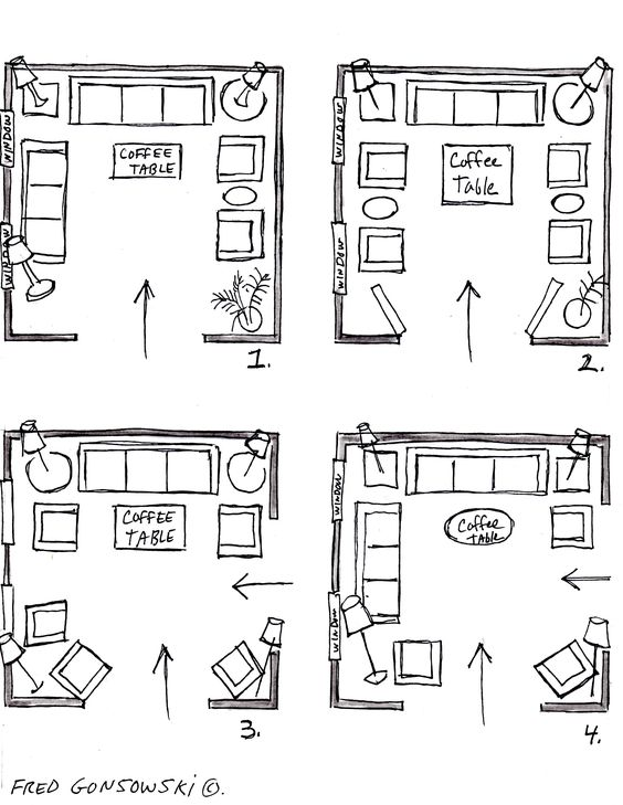 """It's EASY to Arrange Furniture in a Square Living Room, some Ideas that will Inspire You (NOTE: """"furniture arranging is really the same if your room is square or rectangular, or small, medium or large-sized. If you measure your room's length and width for feet, then turn those feet into inches and make a graph of squares..., you can then make paper templates and start arranging them on your graph until up come up with an arrangement / grouping that you think will work for you."""")"""